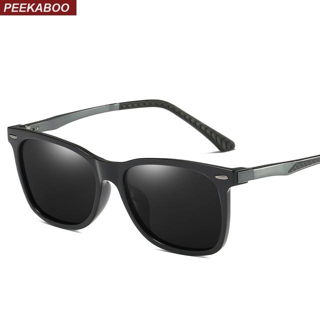 e74b3f1eedaf2 Peekaboo mirror polarized sunglasses men blue lens 2019 matte black high  quality sun glasses for men polarized uv400 driving
