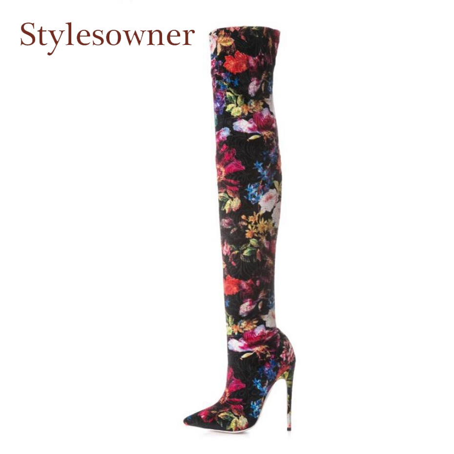 Stylesowner newest print stretch long boots for women thigh high boots pointed toe stilettos heels flowers over the knee boots