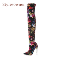 Stylesowner Newest Print Stretch Long Boots For Women Thigh High Boots Pointed Toe Stilettos Heels Flowers