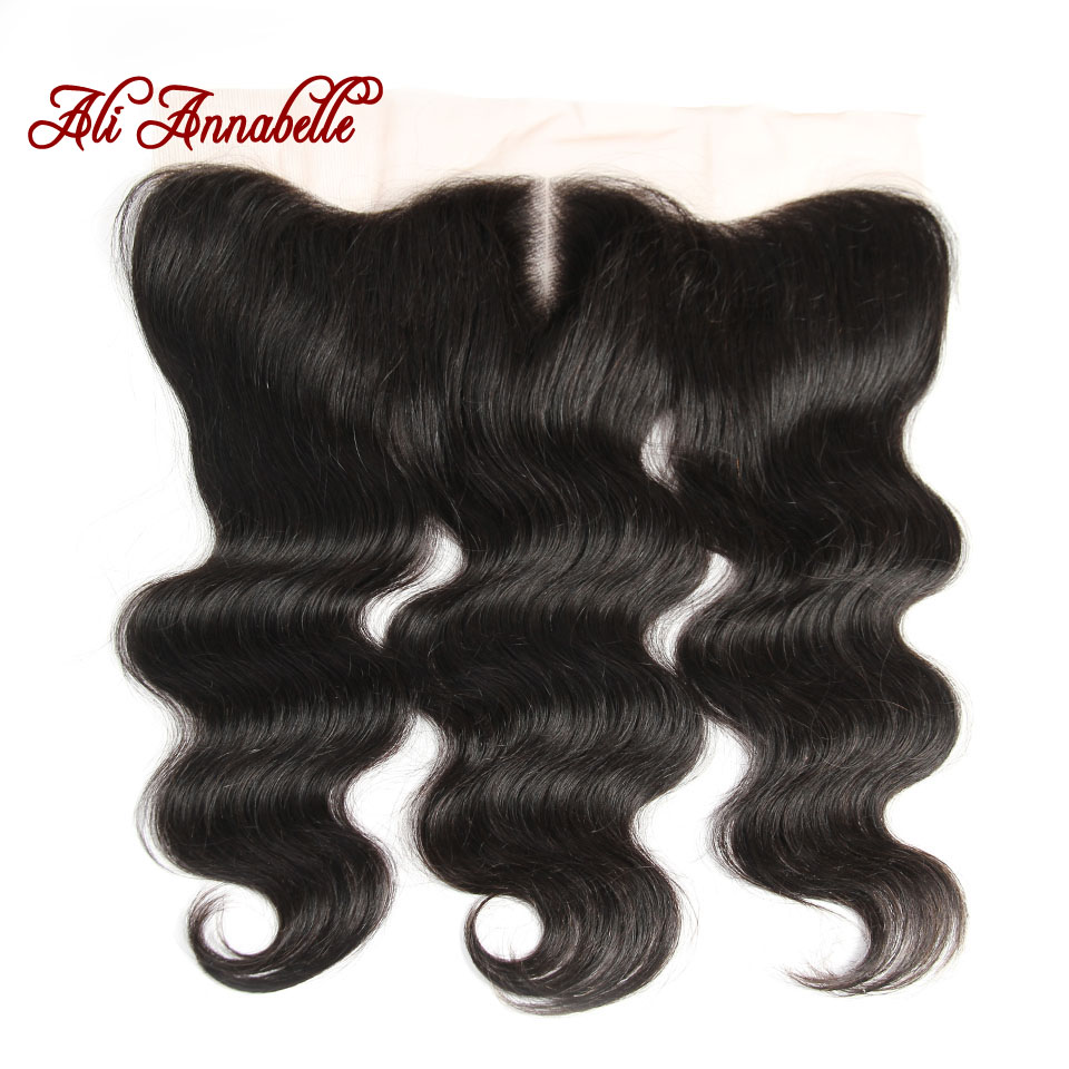 ALI ANNABELLE HAIR Ear To Ear Lace Frontal 13X4 with Baby Hair Pre Preplucked Brazilian Remy