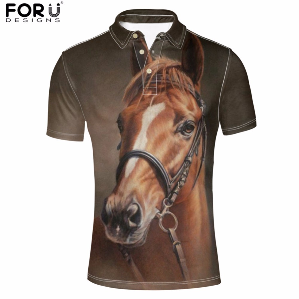 FORUDESIGNS Men Polo Shirt Handsome Horse Printed Harajuku Designer Clothes Manly Short Sleeve Soft Clothing Adult Male Summer L