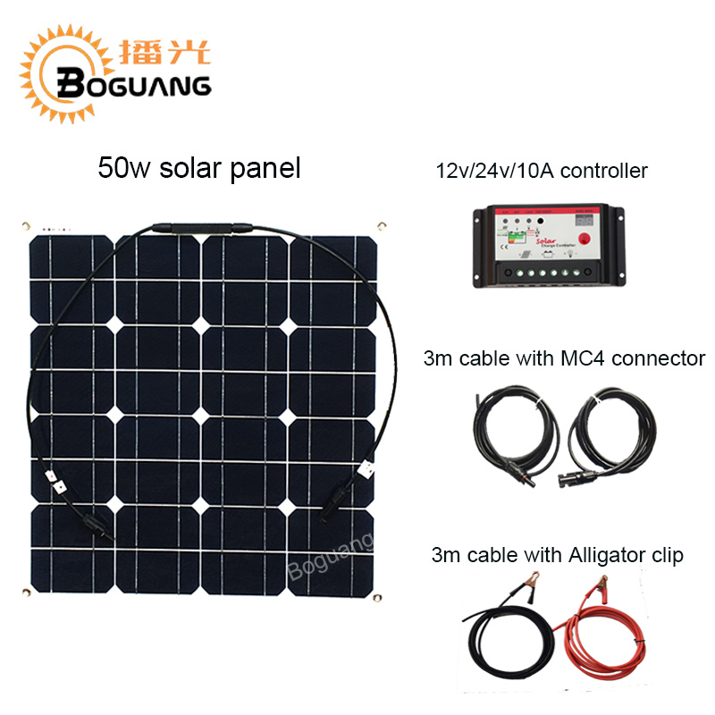 Boguang 50w solar panel module cell 12v/24v/10A controller MC4 connector cable for 12v battery RV yacht LED light power charger