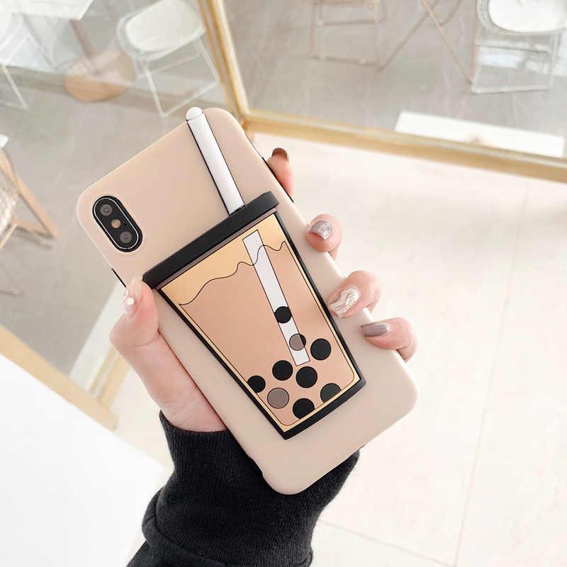 Korean Bubble Tea Phone Case for iPhone XS MAX XR Coque Fundas Soft  Silicone TPU Back 53275a71834e