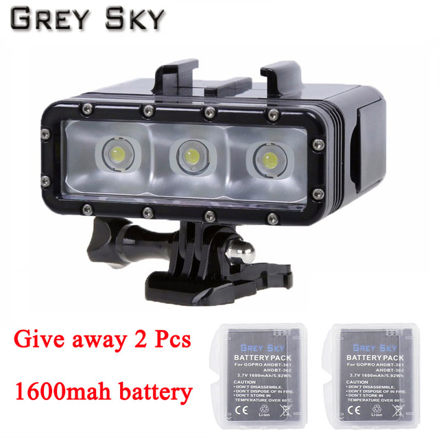 Go Pro Diving flashLight lamp LED Flash Video Light For GoPro Hero 5 4/3+,SJCAM SJ4000 sj 4000 Xiaomi Yi 4k 2 camera accessories