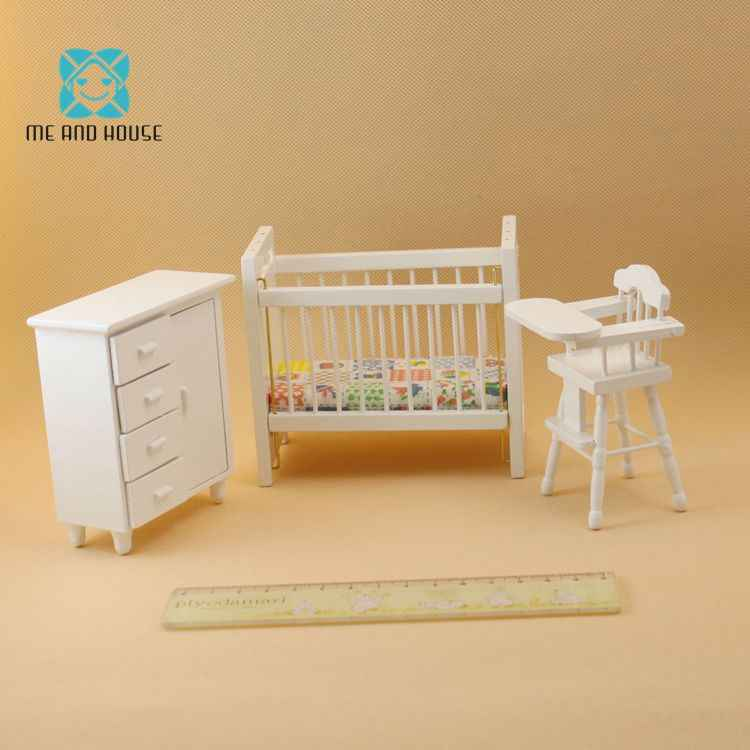 1:12 Dollshouse Baby's Room Miniature Wooden Furniture Modern Baby Bed Chair Dollhouse Mini Cabinet 3 Pieces