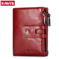 KAVIS Genuine Leather Women Wallet Female Purse Small Walet Portomonee For Lady Hasp Zipper Money Bag