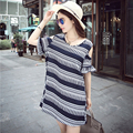 Summer Dresses 2015 Large Size Women Loose Cotton Short-sleeve Strapless Printed Dress For Women vestidos