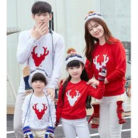 Autumn 2017 Children Christmas Reindeer Family Matching Outfits Mother Daughter Son Cotton Mom Me Kids Baby