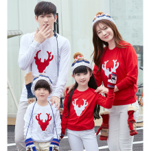 autumn 2017 children Christmas Reindeer family matching outfits mother daughter son cotton mom me kids baby red white t-shirts
