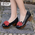 Fashion handmade women leather shoes platform thick with mid heels shallow mouth round shoes flowers Sen style