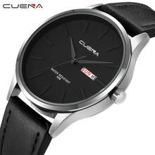 цены на CUENA Men's Watches Analog Quartz Wrist Watch Men Waterproof Luxury Brand Fashion Black Male Clock Leather Strap Wristwatch 2018  в интернет-магазинах