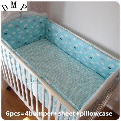 Promotion! 6pcs Baby Bumper 100% Cotton Cartoon Crib Baby Bedding,include (bumper+sheet+pillow cover)
