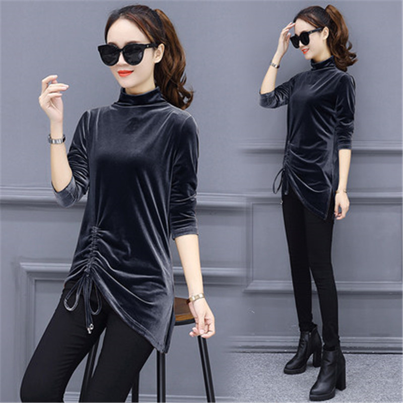 7e53122c65c543 2019 2018 New Autumn Winter Blouse Shirt Women Long Sleeve Velour ...