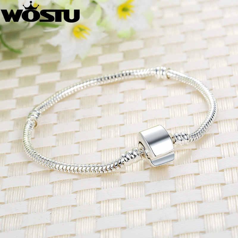 WOSTU nowy projekt srebrny wąż łańcuch magnes zapięcie europejskiej Charm paciorek Fit WST bransoletka bransoletka biżuteria dla kobiet mężczyzn SDP9010