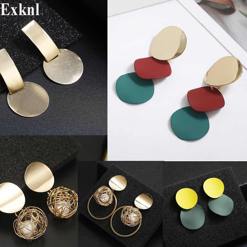 Exknl Fashion Statement Earrings 2019 Big Geometric earrings For Women Long Hanging Dangle Earrings Drop Earing modern Jewelry