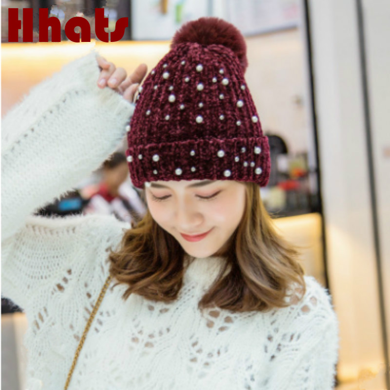 Fashion Faux Fur Pompom Knitted Hat For Women Thick Warm Soft Female Winter Hat Cap Fur Pom Pom   Skullies     Beanie   Turban Hat