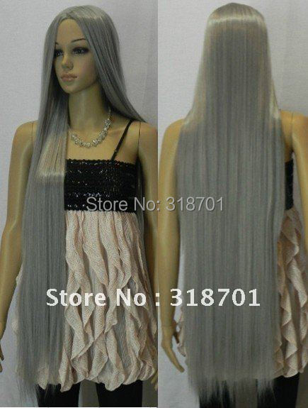 (Free Shipping) New Silver Long Straight Costume Cosplay Wig,Heat resistance fibre