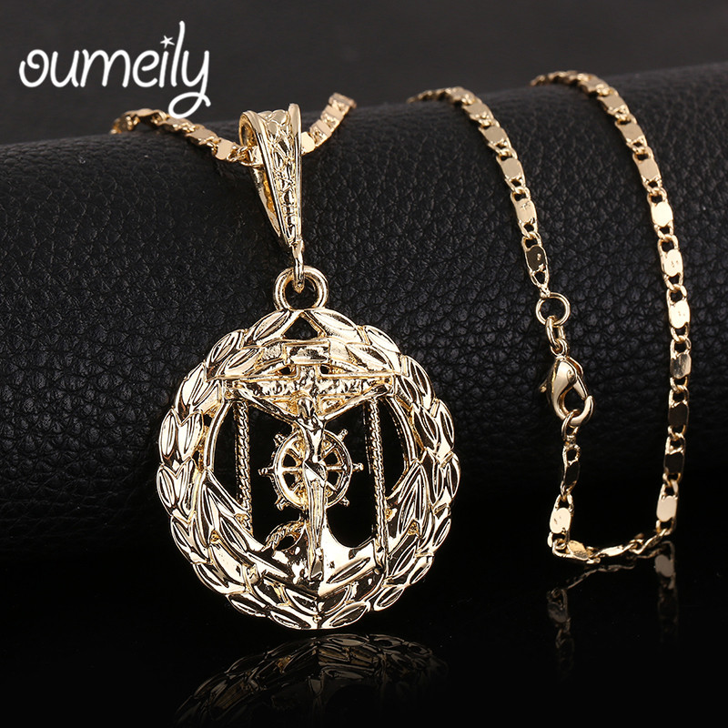Oumeily Anchor Jesus Cross Pendant Cuban Necklace Gold Color Trendy Vintage Steampunk Women men Jewelry Fashion Accessories
