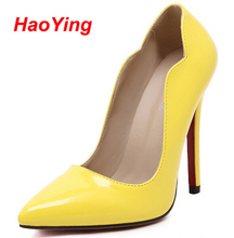 New Women Sexy Pointed Toe Red Bottom High Heels Women Shoes Ladies Stylish High Heel Wedding Party Pumps Red yellow black D252
