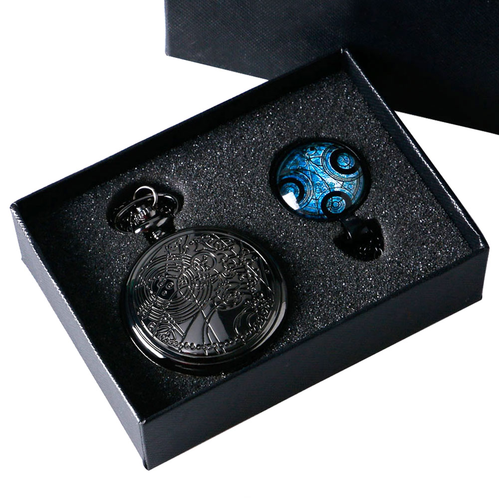 Antique Jewelry Sets Black Doctor Who Pocket Watch With Dr Who Necklace Gift Box Gift for
