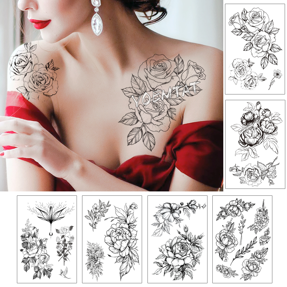 Leaf Rose Peony Lace Flower Waterproof Temporary Tattoo Sticker Black Big Tatto Body Art Shoulder Fake Tatoo For Women