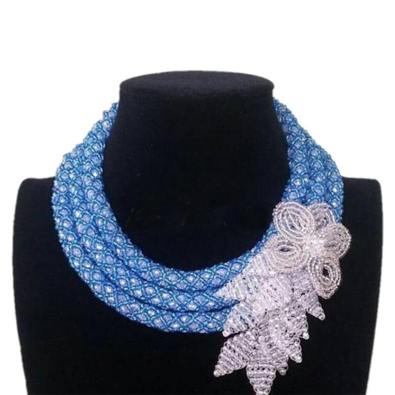 Dudo 18.8 pouces bleu et blanc Ethic bijoux africains ensemble 3 rangées nigérian mariages perles collier ensemble avec perles fleur bijoux