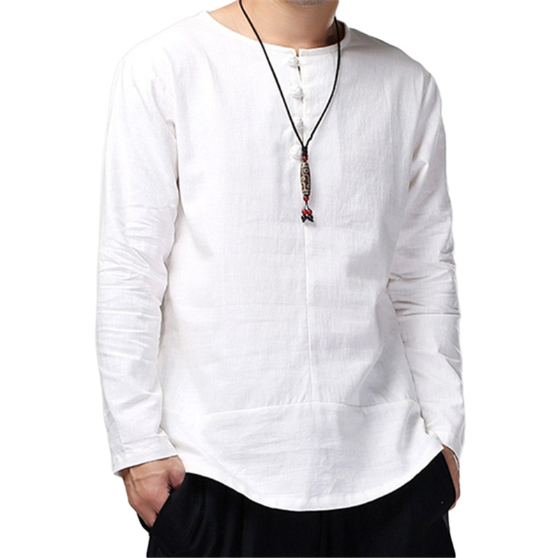 Mens Cotton Linen Shirts Long Sleeve High Quality Breathable Soft Basic Shirts Crew Neck Button Solid Casual Vintage Male Shirt