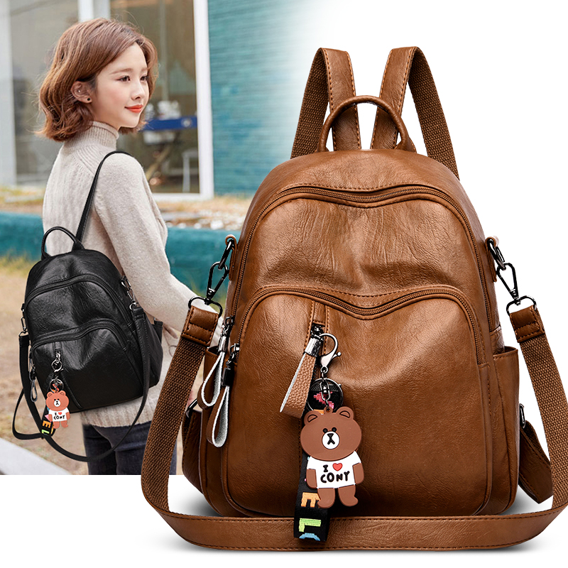 2019 Women Backpack High Quality Leather  Fashion School Backpacks Female Feminine Casual Large Capacity Vintage Shoulder Bags