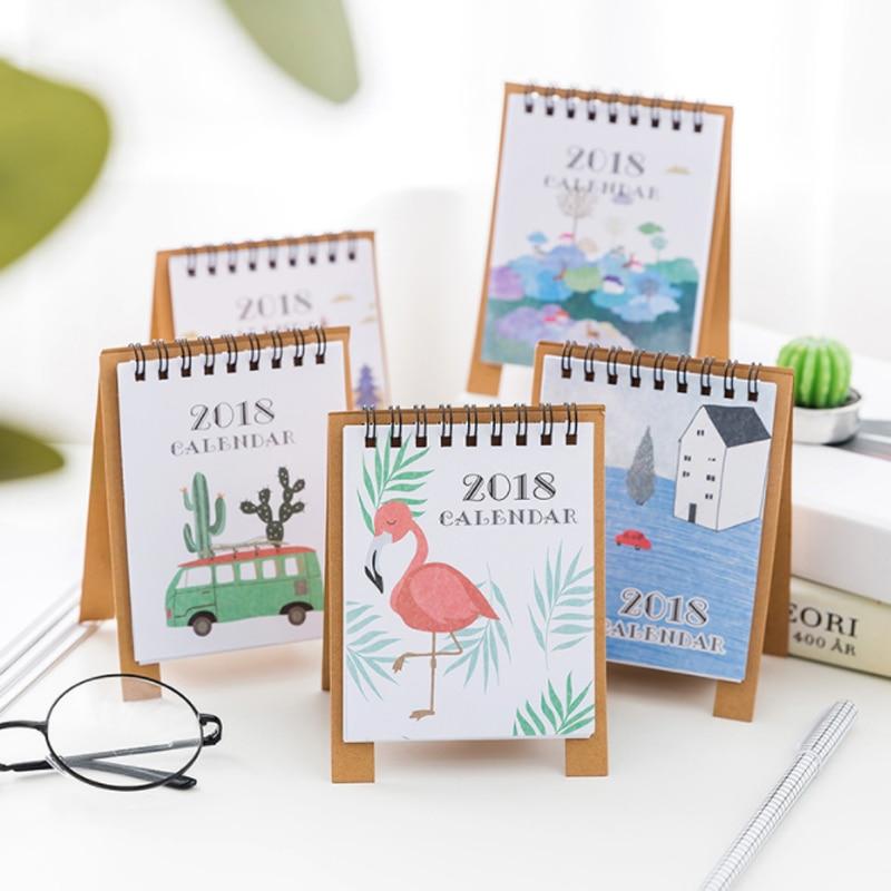 Diy Mini Desk Calendar : Pcs set creative year mini desktop paper flamingo
