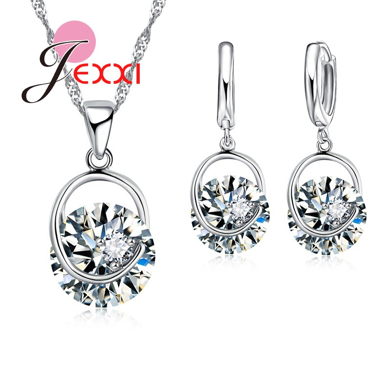 Simple Generous Cute Trendy Jewelry Set For Women 925 Sterling Silver White Round Crystal Necklaces Earring Jewllery Set