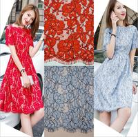Red Blue Ivory African French Lace Fabric High Quality 2016 Latest Fashion Lady One Piece Dress