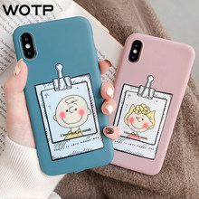 WOTP Cute Cartoon Couple Soft TPU INS Cases For iPhone X XS Max XR Fashion Funny Letter Phone Case For iPhone 7Plus 6 6S 8 Cover(China)