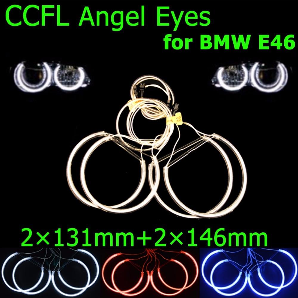 цена на hippcron 2x131mm+2x146mm CCFL Halo Rings Kit Angel Eyes Headlight Decoration Blue Red White Color for BMW E46 1999-2003