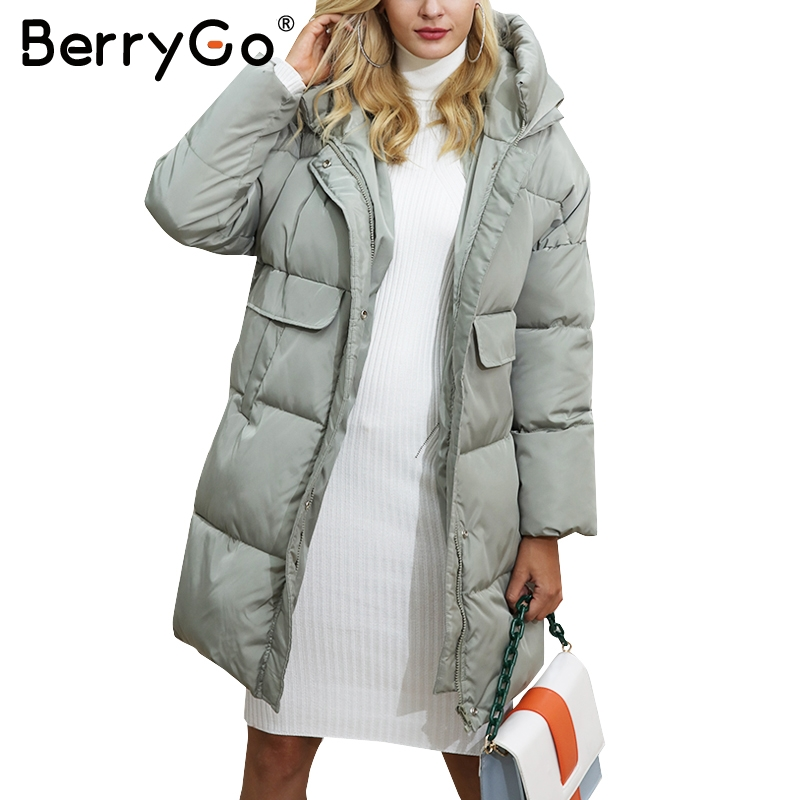 BerryGo Cotton black long parka coat Women jacket zipper padded pocket outerwear parkas 2017 winter casual overcoat parka female women s cotton padded long jacket winter leisure wild long cashmere wool liner coat casual pocket zipepr parkas mujer jy 805