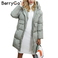 BerryGo Cotton Black Long Parka Coat Women Jacket Zipper Padded Pocket Outerwear Parkas 2017 Winter Casual