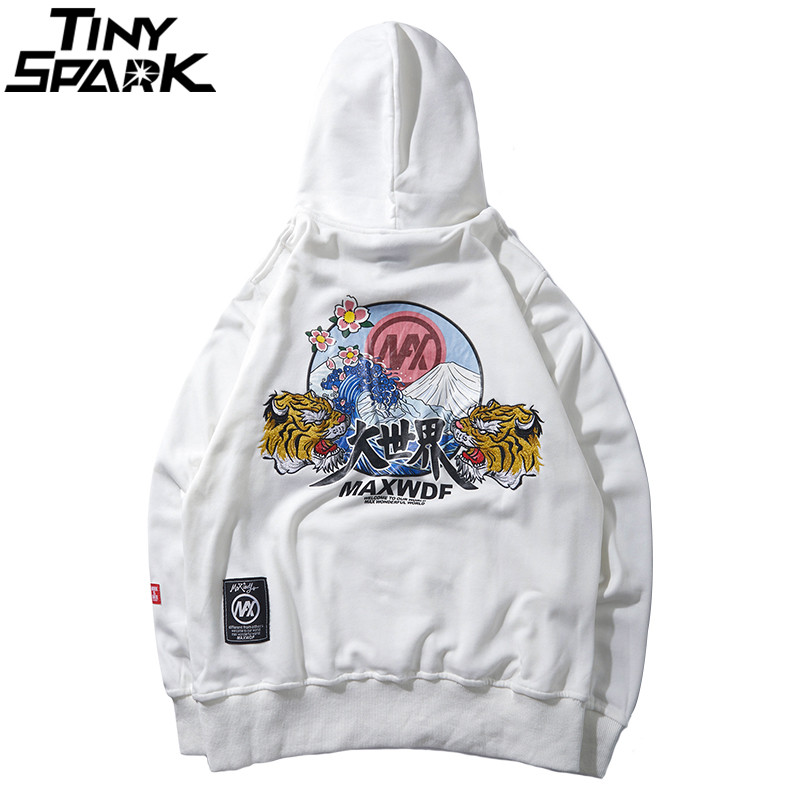 Image 3 - Hip Hop Hoodie Sweatshirts Embroidery Tiger Head Harajuku  Streetwear 2018 Autumn Floral Wave Men Hoodie Pullover Cotton  OversizeHoodies