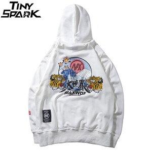Image 3 - Hip Hop Hoodie Tişörtü Nakış Kaplan Kafası Harajuku Streetwear 2018 Sonbahar Çiçek Dalga Erkekler Hoodie Kazak Pamuk Boy