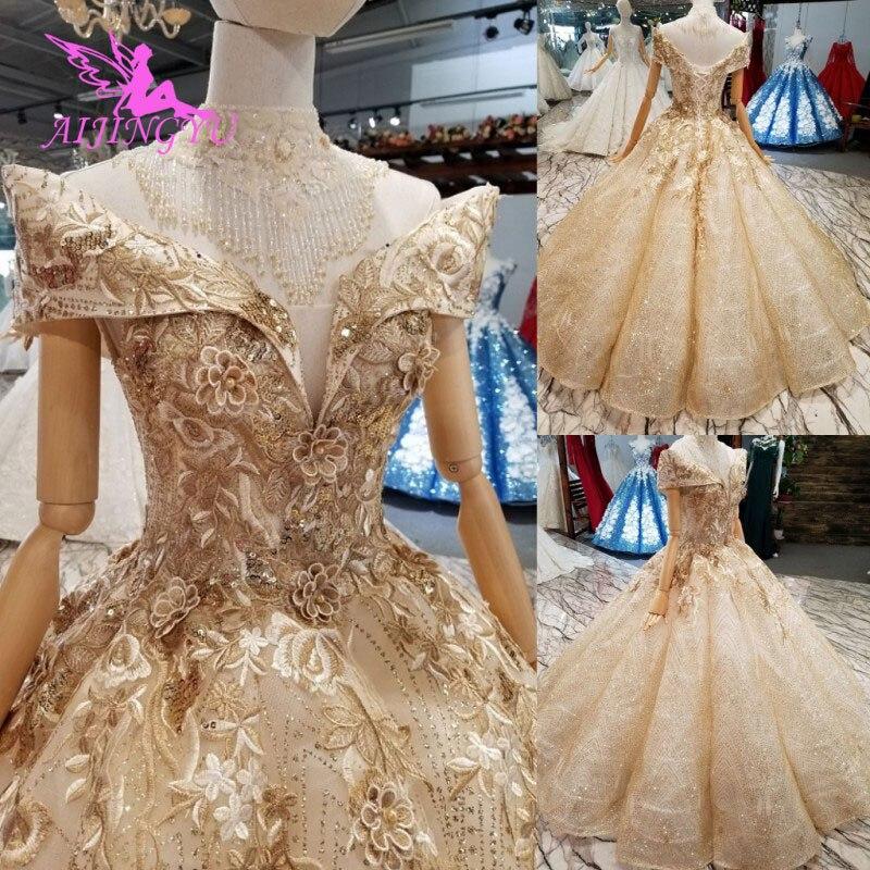 AIJINGYU robe de mariée saoudienne robes d'été désherbage 2018 costumes pour la mariée magasin chinois grande taille robes de mariée africaines