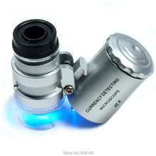 2 X Мини 45 x Jewelers Лупа микроскоп увеличительное карманное светодиодный и УФ-светильник