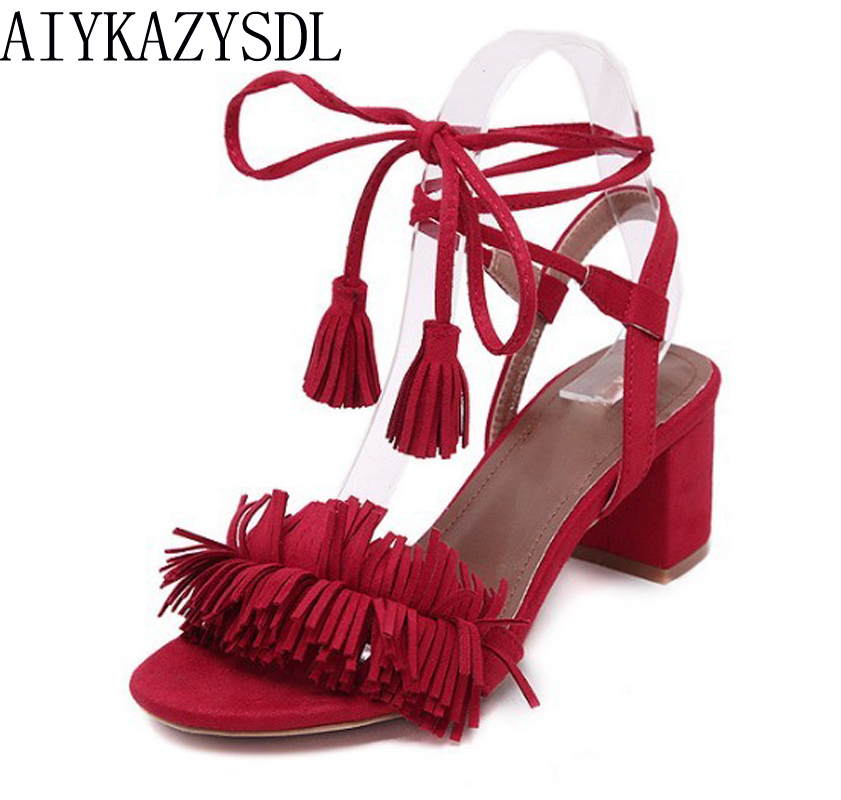 AIYKAZYSDL Women Sandals Pumps Fringe Ankle Strap Gladiator Sandals Square Block Med Heels Summer Lace Up Woman Shoes Causal candy color pompom wedge sandals braid platform high heel lace up gladiator sandals women pumps fringe summer ladies shoes woman