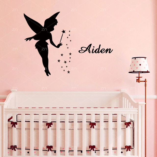 ZN Angel Fairy Wall Stickers For Girls Room Decoration Custom Name - Custom vinyl wall decals diy