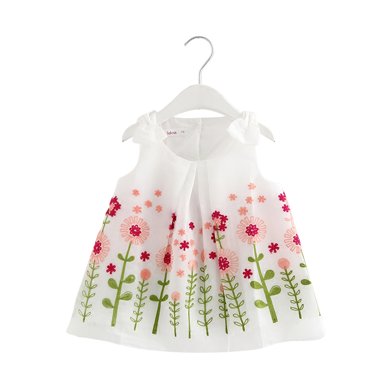 Wholesale 5pcs/lot Baby Girls Dress Summer A-line Sunflowers Embroidery Dresses For Girls Dress Holiday Princess Clothing