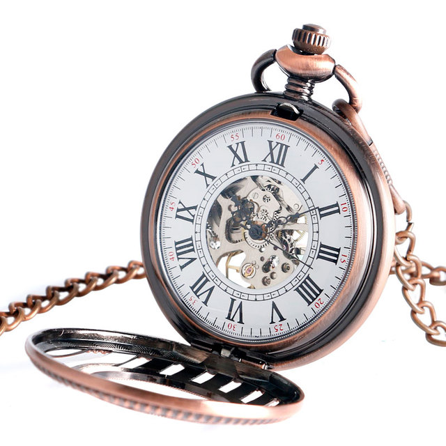 Vintage Hand Wind Pocket Watch Stylish Mechanical Necklace Steampunk Fob Skeleton Retro Cool Stripe Christmas Gift Free Shipping