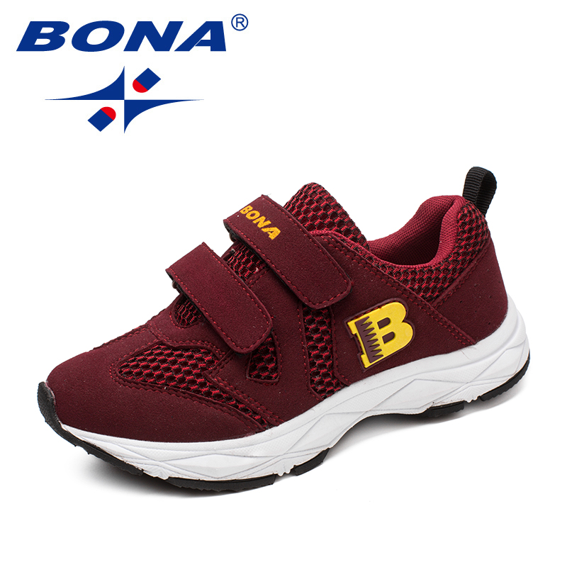 BONA New Arrival Fashion Style Children Casual Shoes Mesh Boys Loafers Hook & Loop Girls Flats Outdoor Fashion Sneakers