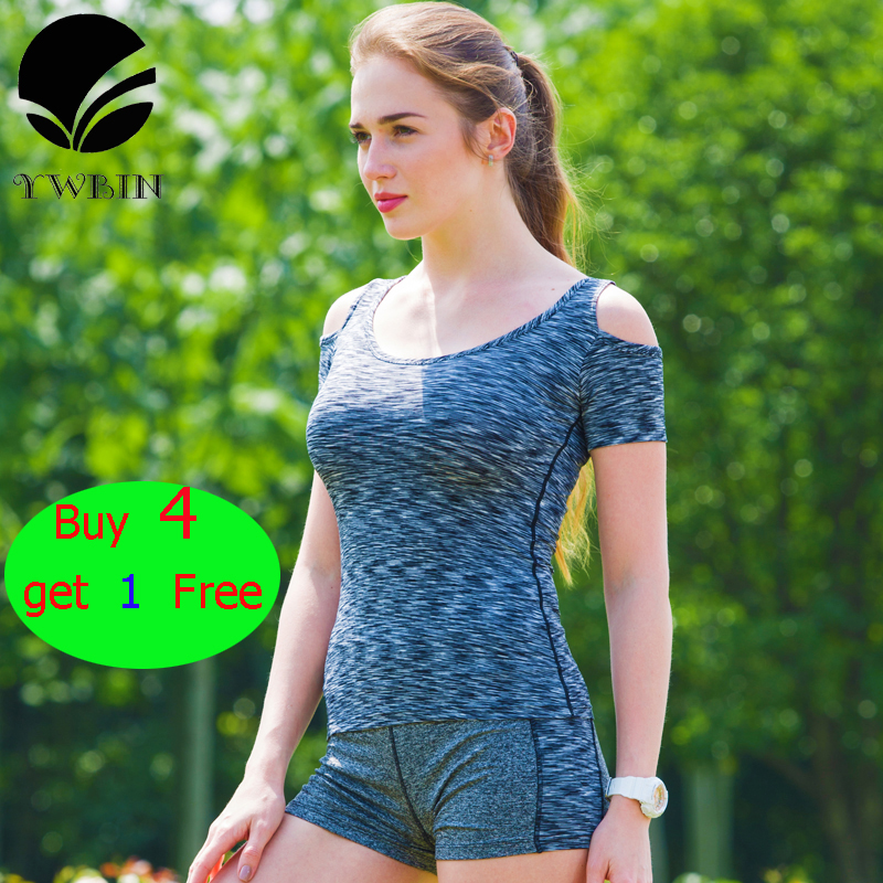 Hot Sale Women Fitness Yoga top Gym Compression Women Sport Tshirt Running Tops Sleeve Fitness Lady Clothes Tees tops 5 colors