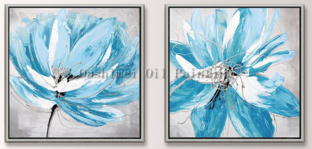 Hand Painted Modern Blue Flower Picture on Canvas Knife 2pcs Wall ...
