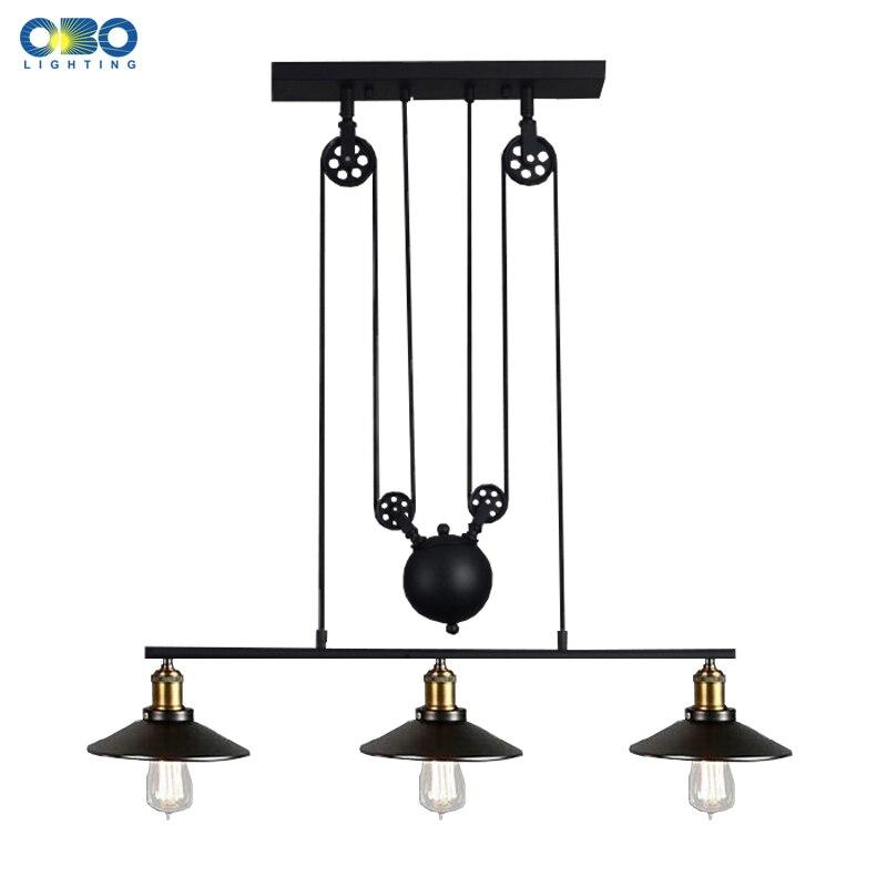 Vintage 3 Head Iron Pendant Lamps American Bar Pendant Lights Coffee House Indoor Lighting Cord Wire