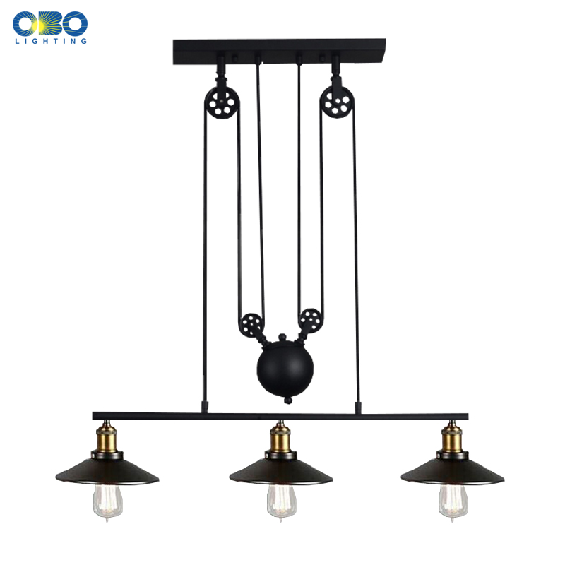 Vintage 3 Head Iron Pendant Lamps American Bar Pendant Lights Coffee House Indoor Lighting Cord Wire E27 Lamp Holder 110-240V