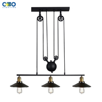 Vintage 3 Head Iron Pendant Lamps American Bar Pendant Lights Coffee House Indoor Lighting Cord Wire
