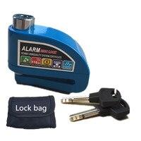 Free Shipping 2017 new motorcycle alarm lock bike lock security anti theft lock moto disc brake lock +bag